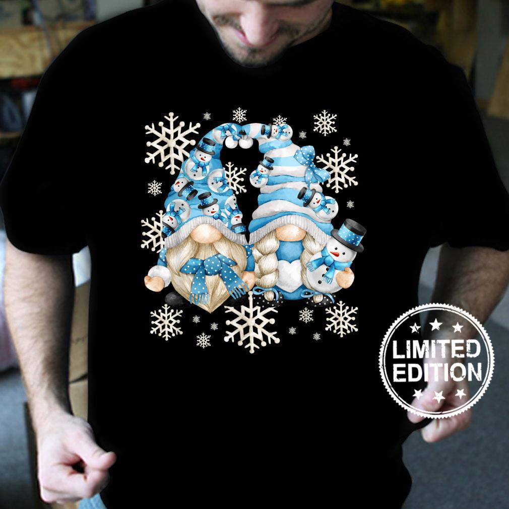 Funny Snowman Gnomies With Snowflakes Cute Winter Gnome Shirt