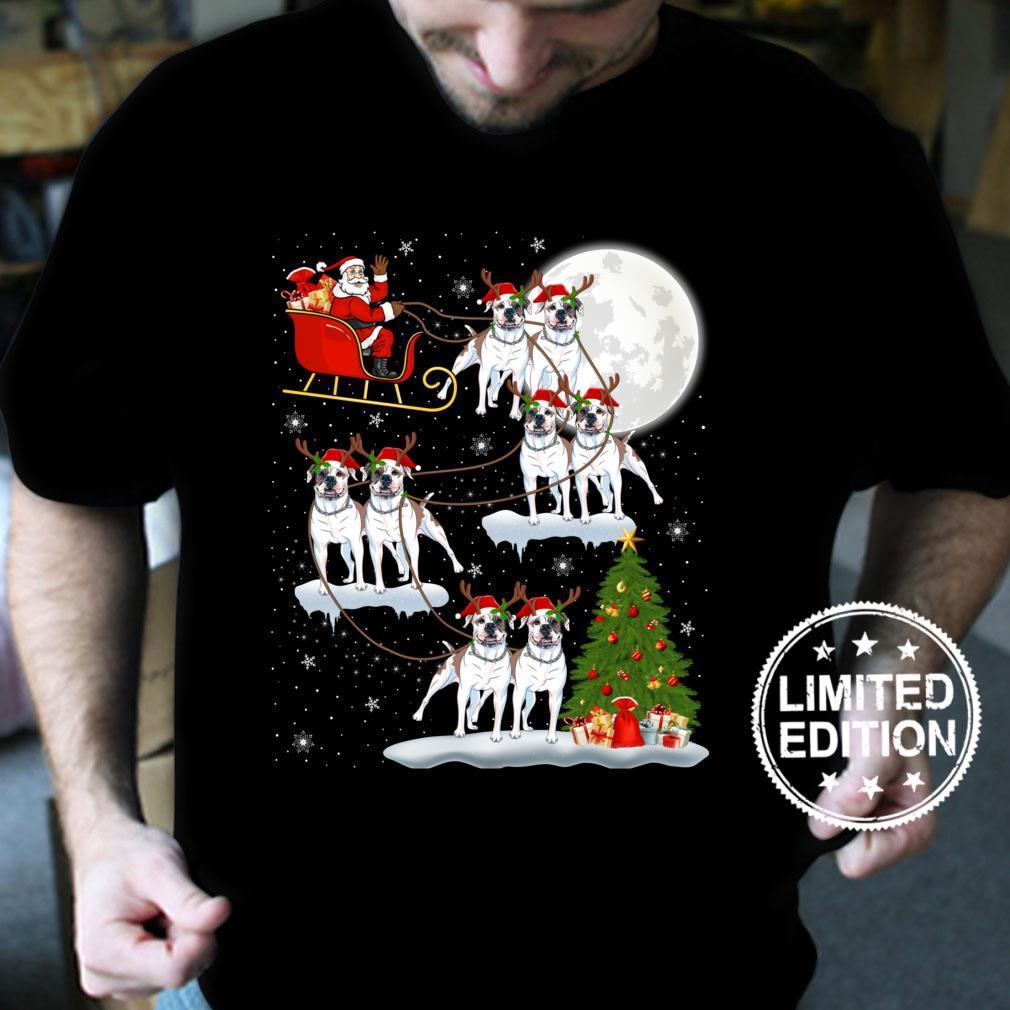 Funny Xmas Lighting Tree Santa Riding Bulldog Christmas Shirt