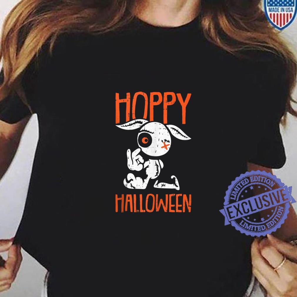 Hoppy Halloween Costume Cute Zombie Bunny Rabbit Pun Humor Shirt ladies tee