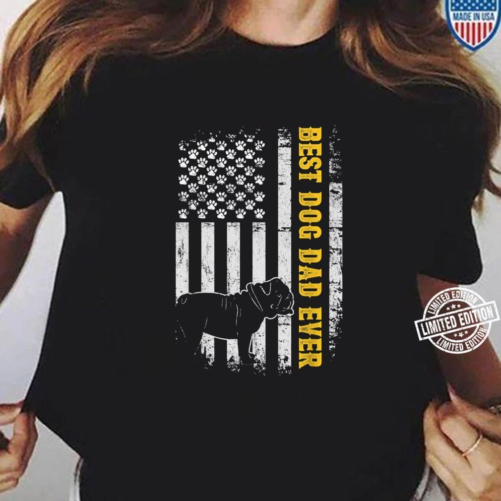 Mens Best Bulldog Dad Ever USA Flag Dog Father's Day Shirt ladies tee
