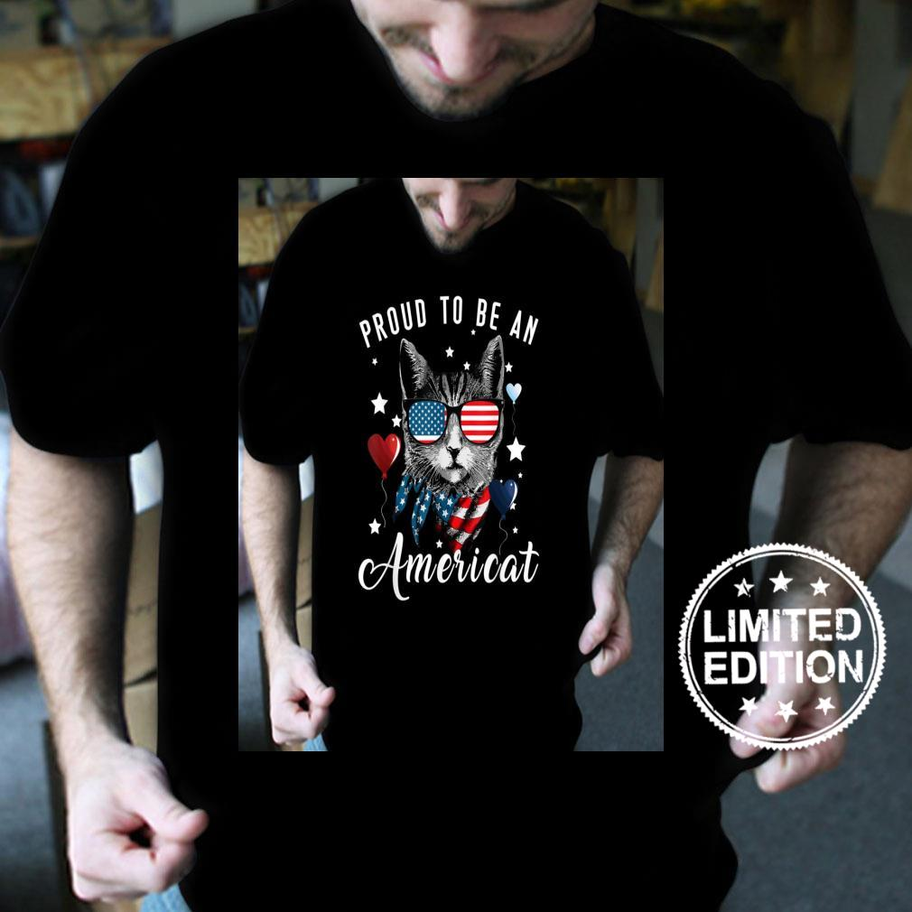 Proud To Be Americat USA Flag 4th Of July Patriotic Love Cat Shirt