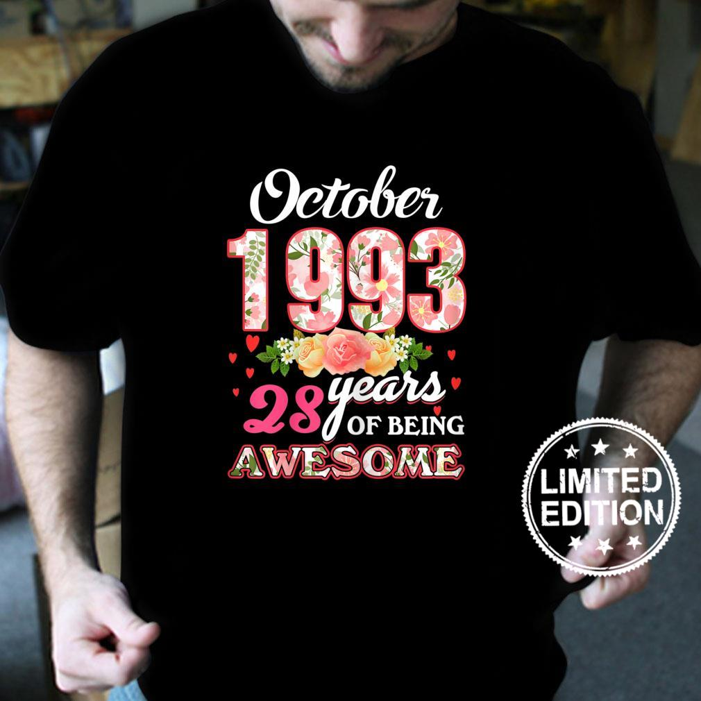 Womens 28th Birthday Floral Born In October 1993 Shirt