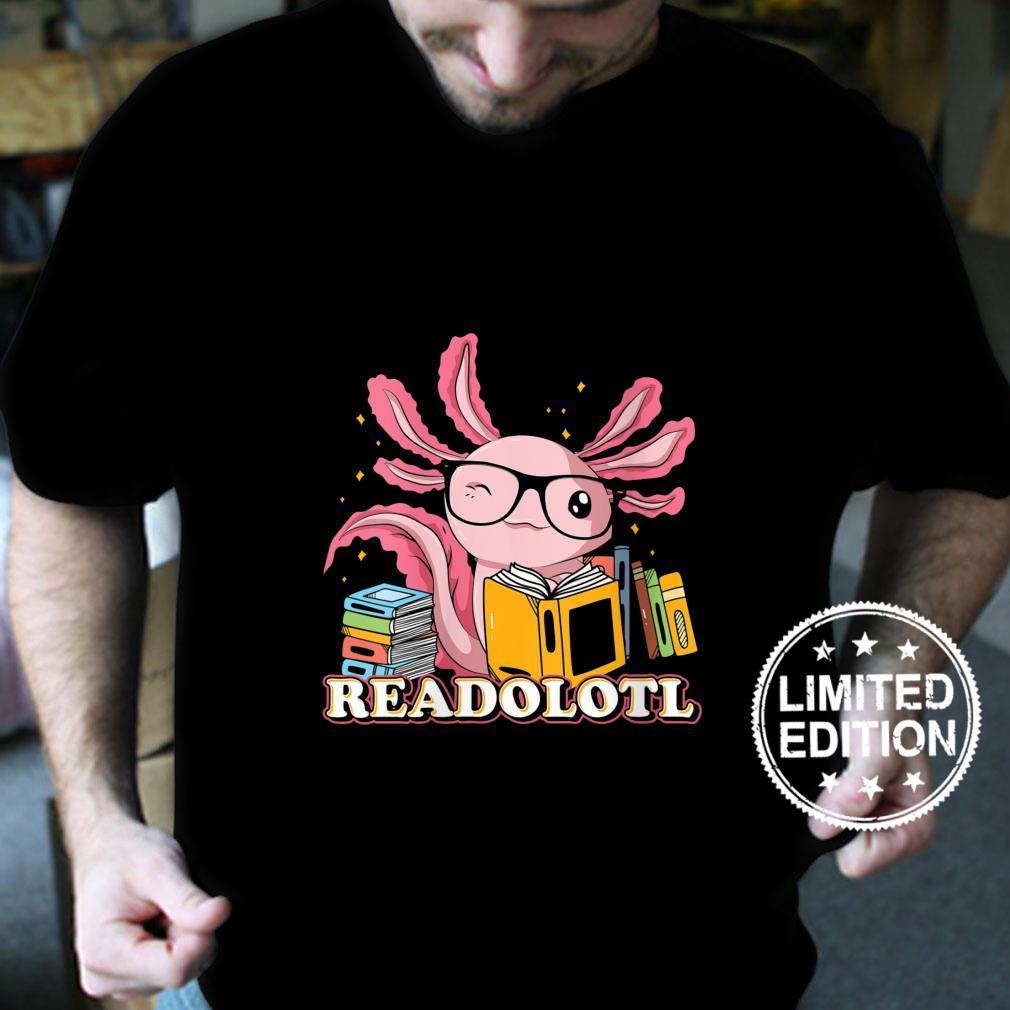 Womens Bookworm Readolot Mexican Salamander Book Reading Axolotl Shirt