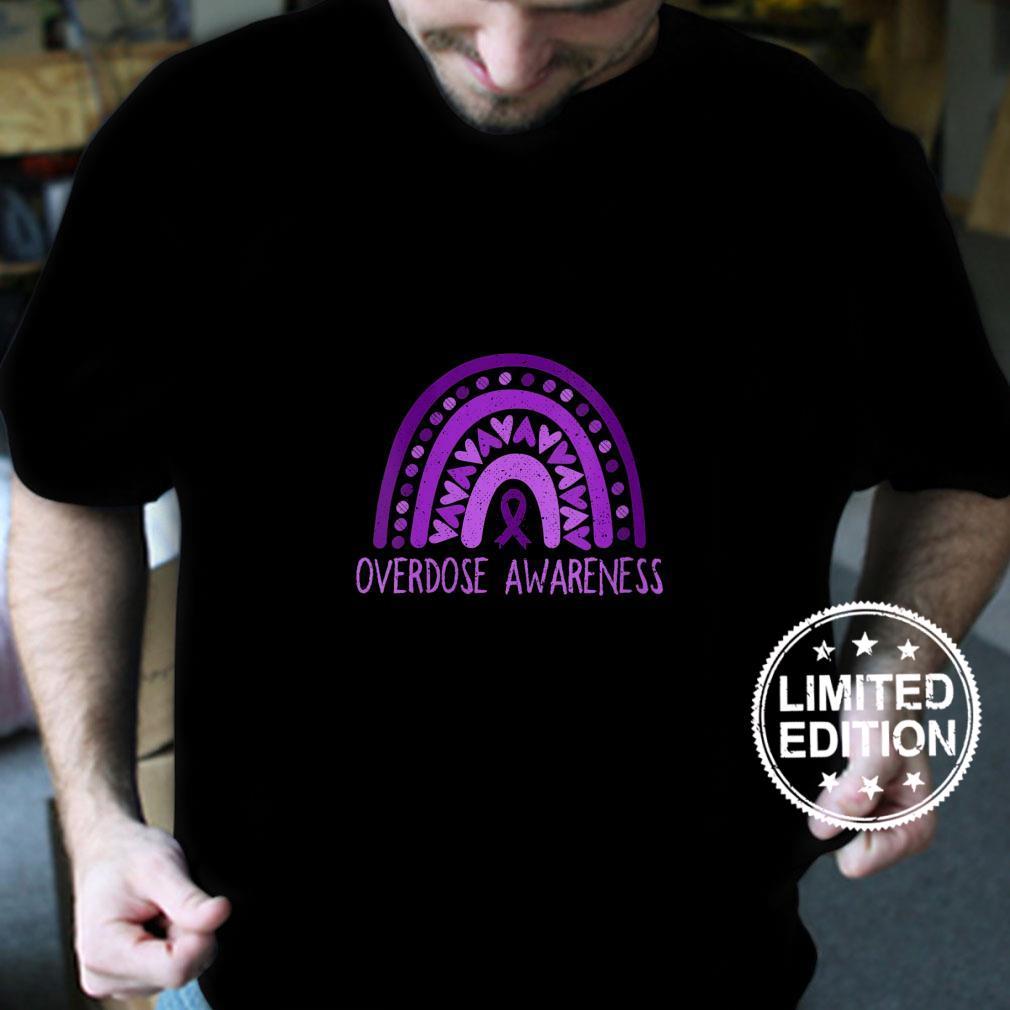 Womens Overdose Rainbow Drug Addiction Recovery Purple Ribbon Shirt