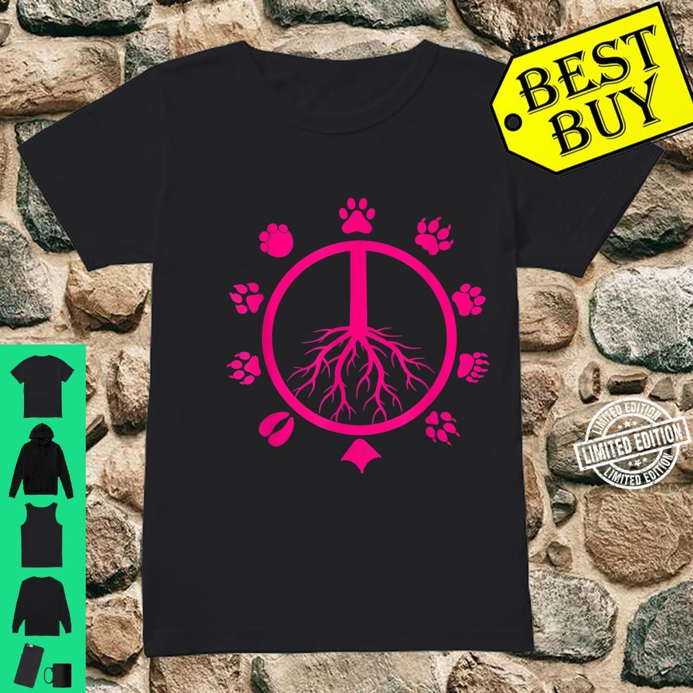 Cool Peace Sign Animal Rights Animal Footprints Shirt ladies tee
