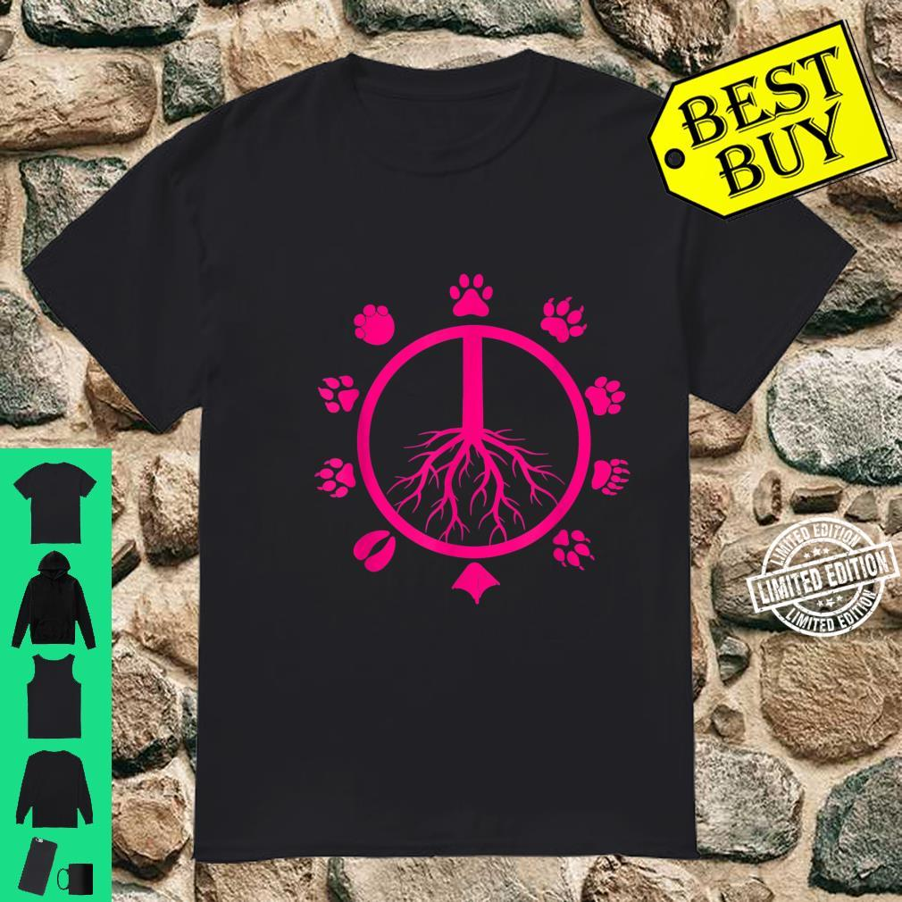 Cool Peace Sign Animal Rights Animal Footprints Shirt