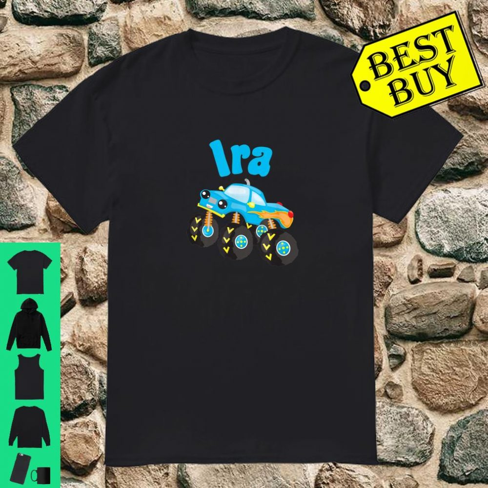 Monster Truck Ira Personalized Boy's Name Truck Design Shirt